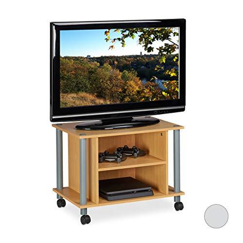 Relaxdays TV Tisch mit Rollen, 2 Fächer, Fernseher Ablage, Fahrbarer Fernsehtisch, HxBxT: 45 x 60 x 40 cm, Holzoptik