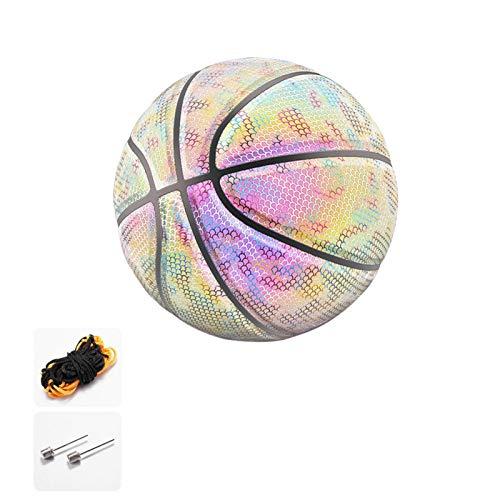 QUYY Reflektierend Basketball PU Reflektierende Regenbogen-Basketbälle - Leuchten im Dunkeln - Offizielle Größe Und Gewicht (Größe 7), Geschenkspielzeug Für Kinder