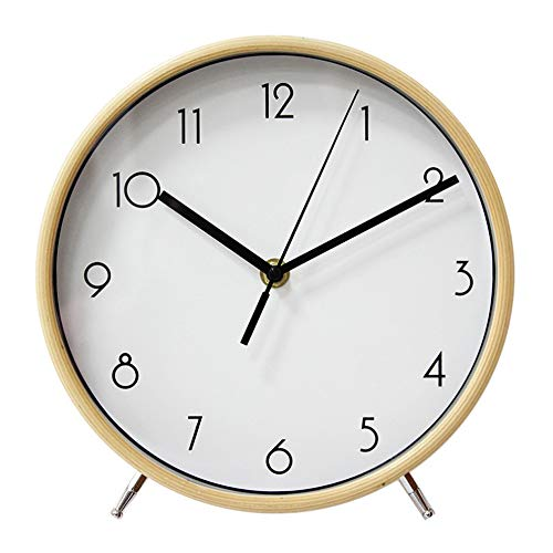 JUSTUP 8 Inch Wood Table Clock, Silent Non-Ticking Table Desk Clock Battery Operated with Sweep Quartz Movement HD Glass Large Numerals Decorative for Bedroom Living Room Kids Room (White)