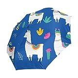 Emoya - Paraguas de 8 Varillas con Apertura y Cierre automático, Resistente al Viento, para la Lluvia, diseño de Llama, Cactus, Flores, pájaros, montaña, Resistente al Agua, Paraguas portátil