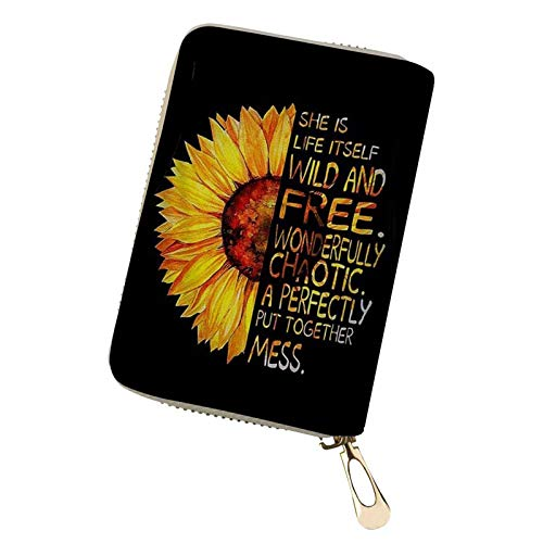 SEANATIVE Women Credit Card Holder Wallet Lady RFID Leather Zipper Wallet ID Case Half Sunflower and Word Print