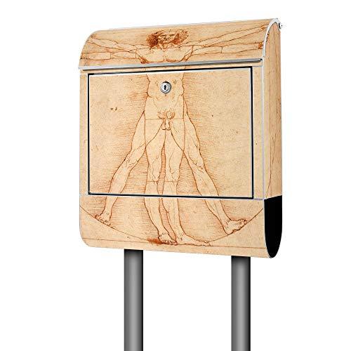Banjado Design Briefkasten mit Motiv Vitruvianische Figur | Stahl pulverbeschichtet mit Zeitungsrolle | Größe 39x47x14cm, 2 Schlüssel, A4 Einwurf, inkl. Montagematerial