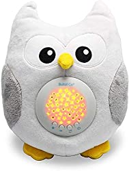 Image: Bubzi Co White Noise Sound Machine and Sleep Aid Night Light. New Baby Gift, Woodland Owl Decor Nursery and Portable Soother Stuffed Animals Owl with 10 Popular Songs for Crib to Comfort Plush Toy