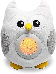 Bubzi Co Búho quitamiedos relajante y Luz de noche y Emisor de sonido relajante – Peluche bebé con ruido blanco y Proyector de estrellas LED y 10 Canciones de Cuna – Ideal regalo para bebé