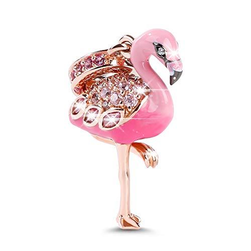 Gnoce Flamenco Abalorio Charms De Mujer Plata de Ley 925 18K Oro Rosa Charm Bead Con Zirconia Compatible con Pulsera o Collar