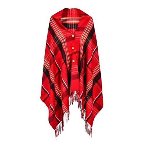 Adelina Classic Vintage omslag met knopen geruit poncho herfst winter mode elegante kleding casual comfortabele warme cape omslagdoek stola met kwast retro