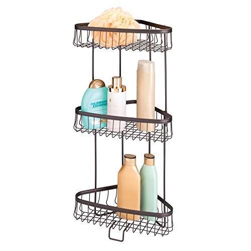 mDesign Metal 3-Tier Bathroom Corner Shower Shelf - Free Standing Vertical Unit Storage Shelves - for Organizing Soaps, Shampoos, Conditioner, Fash Face, Body Scrubs, Body Washes - Bronze