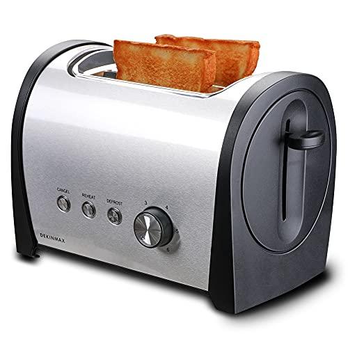 DEKINMAX Tostadora Pan de 2 Rebanadas Acero