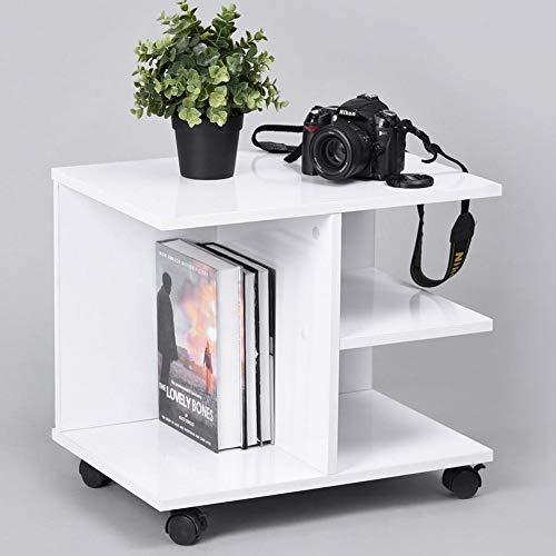 BAKAJI Tavolino da Caffe Salotto Multifunzione Tavolo Divano Porta TV Riviste Comodino con Ruote in Legno Melaminico (Bianco)