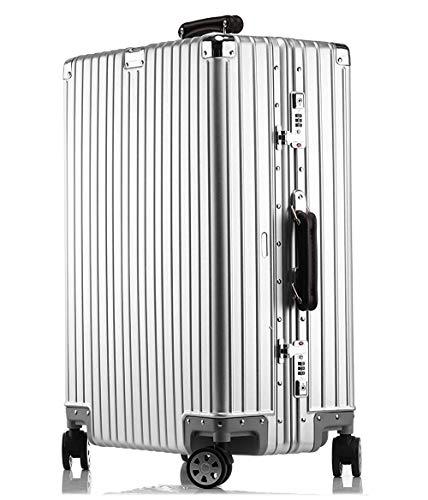 【3年間保証付き】アルミニウムマグネシウム合金製スーツケース機内持ち込みスーツケーストラベルバッグキャリーバッグ静音キャスター自在車 (L, (1802モデル) シルバー)