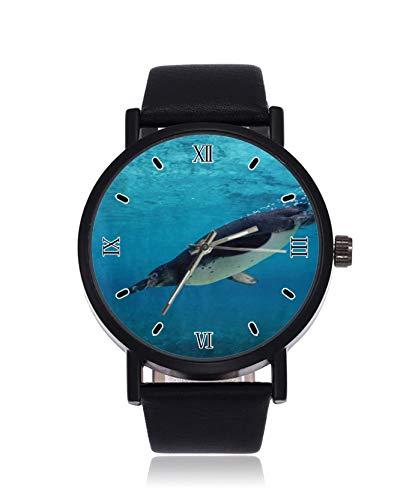 Humboldt Pinguin Tauchen Unterwasser Mode Herren Armbanduhr Quarz Edelstahl Lederarmband Casual Watch