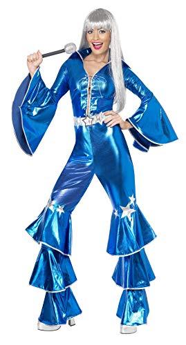 1970er Tanz-Traum Damenkostüm Blau enthält Schnür-Jumpsuit, Small