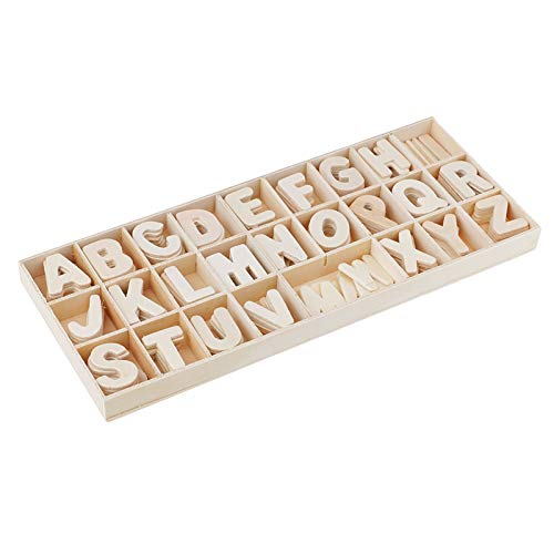 Home decoration 156 Pieces Set Wooden Letters - Wooden Craft Alphabet with Storage Tray - Unpainted Wood Upper Case Kids Learning Toy Handmade accessories