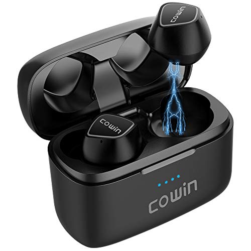 COWIN KY02 [Upgraded] Wireless Earbuds True Wireless Earbuds Bluetooth Headphones with Microphone Bluetooth Earbuds Stereo Calls Extra Bass 36H for Workout(Charging Case Included) - Black