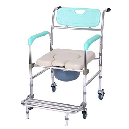 LQley Silla Inodoro portátil con el Pedal del Orinal Silla de Ducha Sillas de Ruedas para el baño de Noche Cómodas para la Tercera Edad, Ancianos y discapacitados Mujer Embarazada Adultos