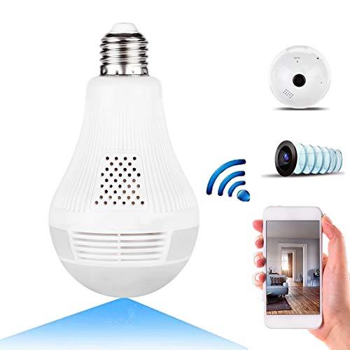 Cámara de la Bombilla de 1080P WiFi Cámara de Seguridad espía para Interiores de Gran Angular 360 ° Gran Angular de 360 °, Teléfono WiFi Control Cámara Oculta de la Bombilla con(960P + IR)
