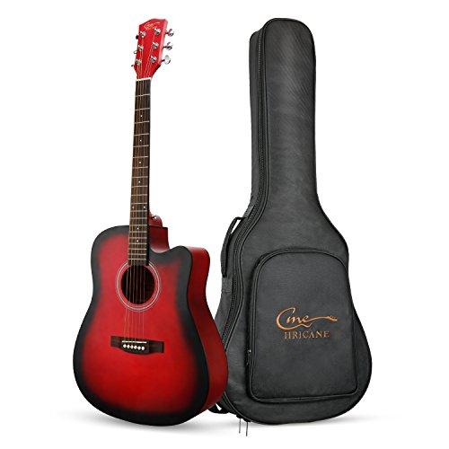 Guitarra Acústica, Hricane Guitarra Clásica 41 Pulgadas Acabado Mate con Cuerda de Metal, Bolsillo Exterior y Cuerdas de Repuesto para llevar fácil (Cutway, Color Rojo) …