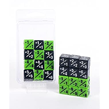 Premium MTG +1/+1 and -1/-1 Counter Dice 12 Piece Combo Pack Hedral 12d6 - Magic: The Gathering TCG CCG