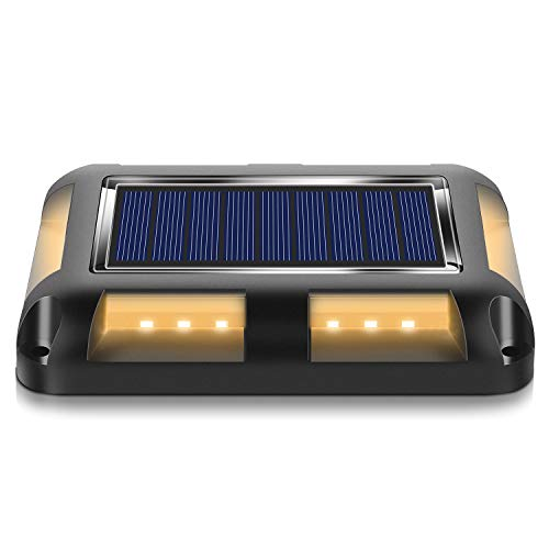 MEIKEE ソーラー式 デッキライト 光センサーで夜間自動点灯ライト、埋め込み式IP67防水ライト 私道ガーデンウォークウェイ裏庭ステップの屋外警告ステップライト ステップ歩道階段 庭の地上の通路 ソーラー屋外防水道路マーカー 適用(電球色)
