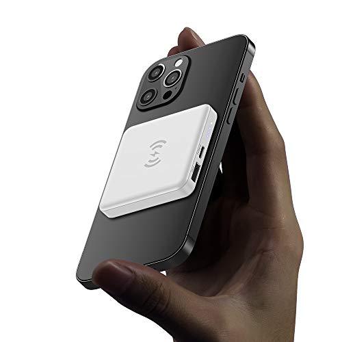 Batería externa para cargador inalámbrico magnético, cargador magnético portátil de 5000 mAh, USB C, fuente de alimentación de emergencia, apto para iPhone 12/12 Mini/Pro/Max (color blanco)