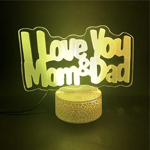 Lámpara 3D Día del padre Día de la madre Amor Base de...