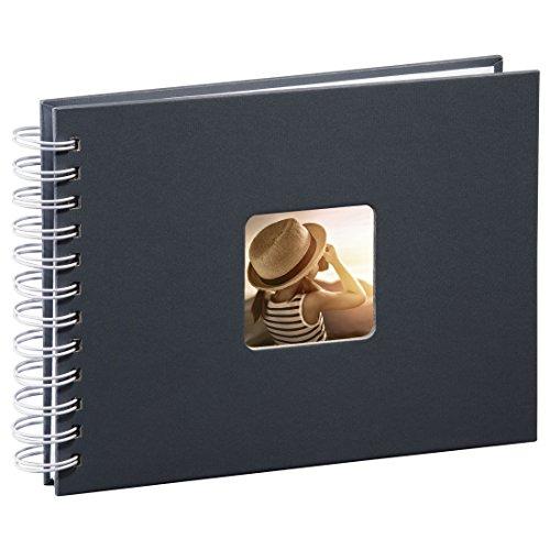 Hama Fotoalbum 24x17 cm (Spiral-Album mit 50 weißen Seiten, Fotobuch mit Pergamin-Trennblättern, Album zum Einkleben und Selbstgestalten) grau