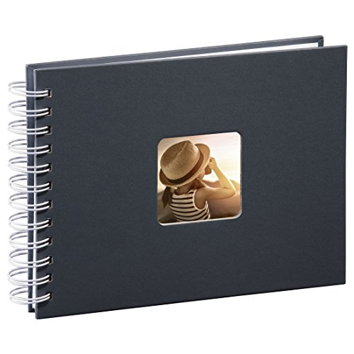 Hama Fotoalbum Spiralalbum, 50 weiße Seiten, 25 Blatt, Größe 24 x 17 cm, mit Ausschnitt für Bildeinschub, Fotobuch grau