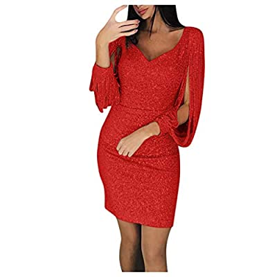 BingYELH Womens Elegant Sequin Tassel Sleeve Bodycon Cocktail Party Midi Dress Long Sleeved Mini Short Dress