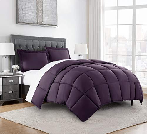 Chezmoi Collection 3-Piece Down Alternative Comforter Set (Queen, Dark Purple)
