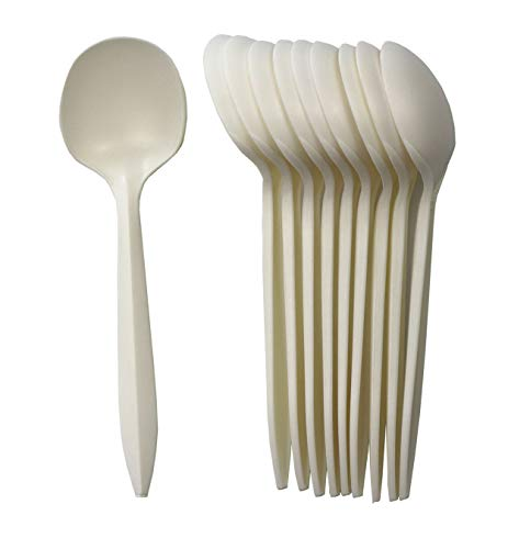 GreenWorks Eco-friendly Plant Starch Disposable Cutlery,1000 ct Cornstarch Bio-based Soup Spoons