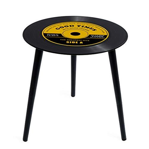 Balvi Mesa Auxiliar Greatest Hits Color Amarillo En Forma de Disco de Vinilo con Patas de Madera Cristal 40 cm