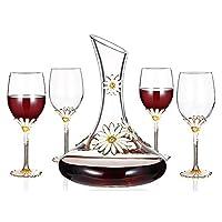 1.5Lワインデカンタ、4本の赤ワイングラス(350ML)セット - 100%手吹き鉛フリークリスタルガラス、赤ワインのデカンタ、ウイスキーボトル、ワインギフト、ワインアクセサリー - 家庭用やパーティーやバーに最適 ウィスキー、ラム、ワイン用デカンタ、レストラン/カウンター/バー用品「プレゼントに最適」
