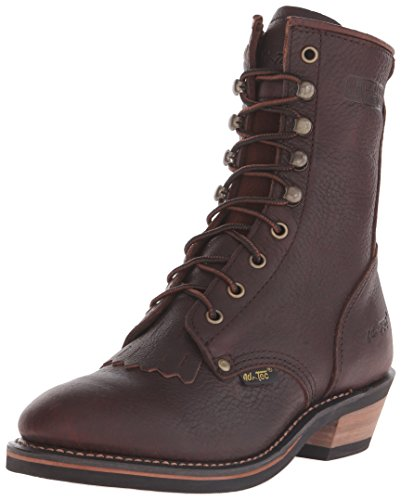 AdTec Women's 8 Inch Packer Chestnut Work Boots, Full Grain Tumbled Leather, Non Slip Traction Control Durable Rubber Sole Wide Boots for Women