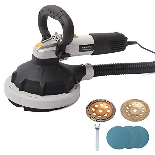 WISETOOL 1100W Concrete Surface Power Grinder Kit,7-inch Variable Speed Multi-Purpose Angle Grinder Sander with 180mm Diamond Cement Masonry Grinding Wheel,Sanding Papers and Self Vacuum System
