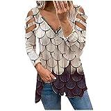 Camiseta de verano para mujer, estilo casual, con cremallera y hombros descubiertos, camiseta de manga larga para mujer, caqui, S