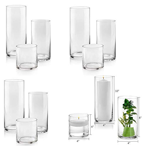 Set of 12 Glass Cylinder Vases 4 from Each Size 4, 8, 10 Inch Tall – Multi-use: Pillar Candle, Floating Candles Holders or Flower Vase – Perfect as a Wedding Centerpieces.