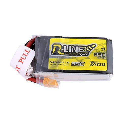 Tattu R-Line 850mAh 14.8V 95C 4S LiPo batería con conector XT60 para Multirotor FPV de tamaño 100 a 180