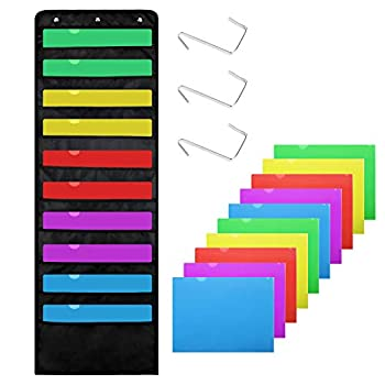 Premium Hanging File Folders,10 Pockets,10 Folders Wall Mount Storage Charts 3 Over Door Hangers Cascading Wall Organizer Perfect for Home Organization,School Pocket Chart,Office Bill Filing & More