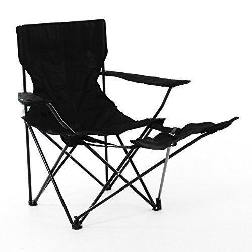 SONLEX Campingstuhl Angelstuhl schwarz mit Fußablage Getränkehalter und Tragetasche Stabiler Faltstuhl klappbar Stahlgestell