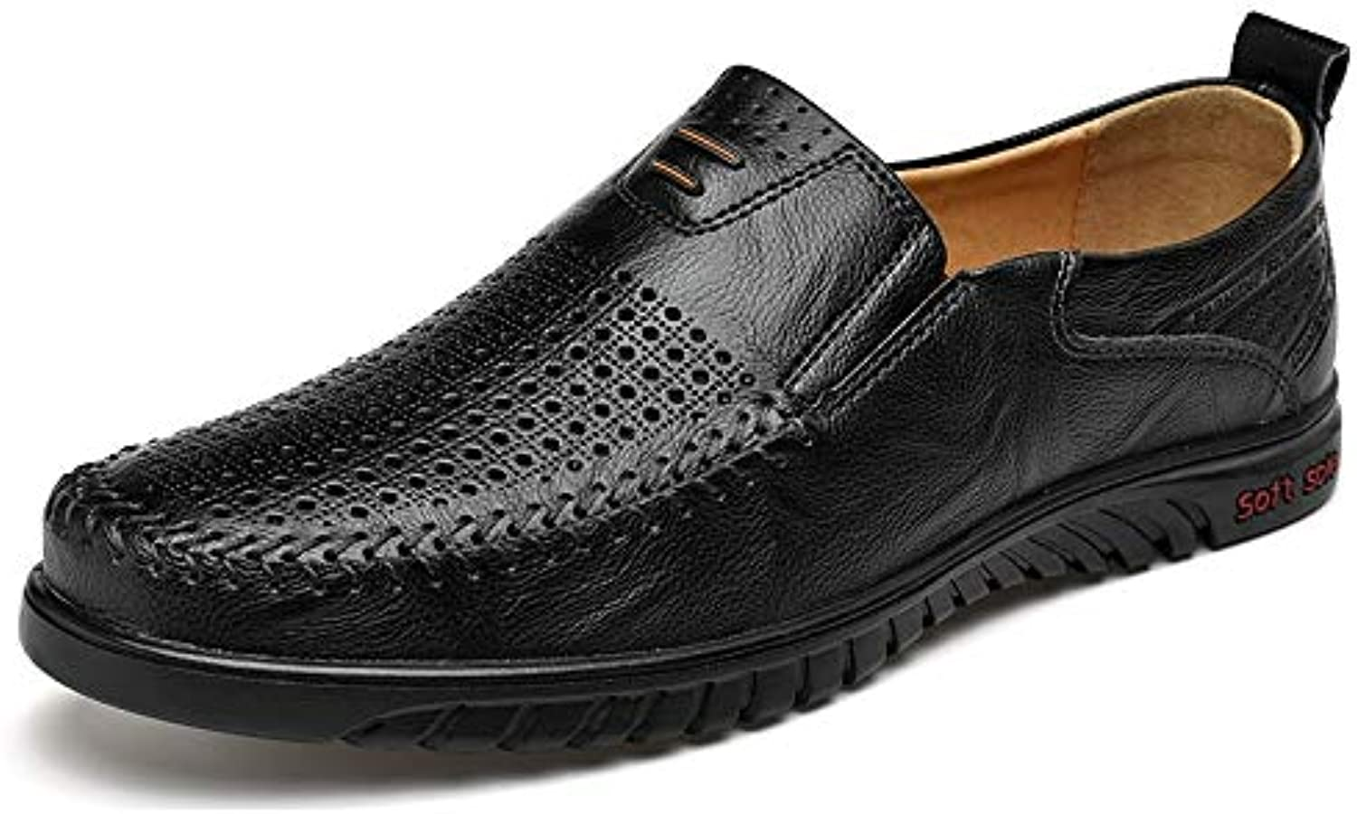 Easy Go Shopping Oxfords for Men Driving Loafer Slip On Style OX Leather Round Toe Breathable Hollow Vamp Cricket shoes