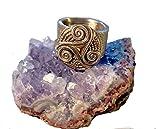 Bague Unisexe, Triskel Celte fait Main en Bronze(Coul.Or ou