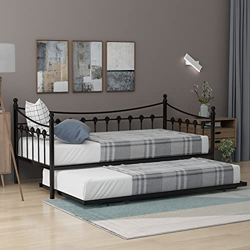 Pumpumly 3Ft Metal Daybed Guest Bed with Trundle for Guest Room Children Bedroom,Solid Sofa Bed In Black (190X90Cm)