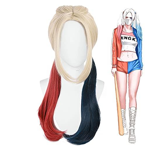 HBTH Pelucas sintéticas artificiales, diseño de cola de caballo doble de color rojo y azul
