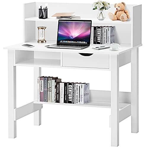 Tangkula White Computer Desk with Hutch, Home Office Writing Desk with Storage Shelves & Drawer, Modern Makeup Vanity Desk Kid's Desk, Ideal for Working Studying (White)