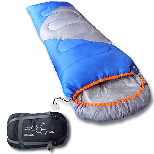 Mountaineers Outdoor Sleeping Bag, 4 Season, XL Pillow Pocket & Water Resistant Outer Shell - Including Foot Zipper, Inner Pocket & Breathable Material, All In One Small Compressor Carry Bag