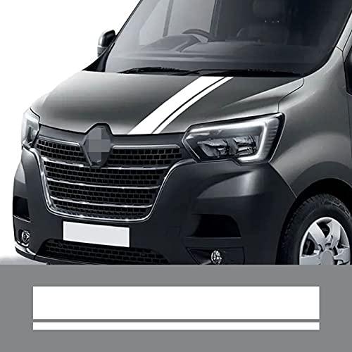 Qwldmj para Renault Master Pegatinas de capó de Coche Rayas Deportivas capó Cubierta del Motor gráficos calcomanías de Vinilo Accesorios de conversión