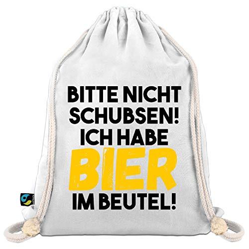 Festival Turnbeutel mit Spruch Bitte Nicht schubsen - Ich Habe Bier im Beutel - Sportbeutel/Gym Bag