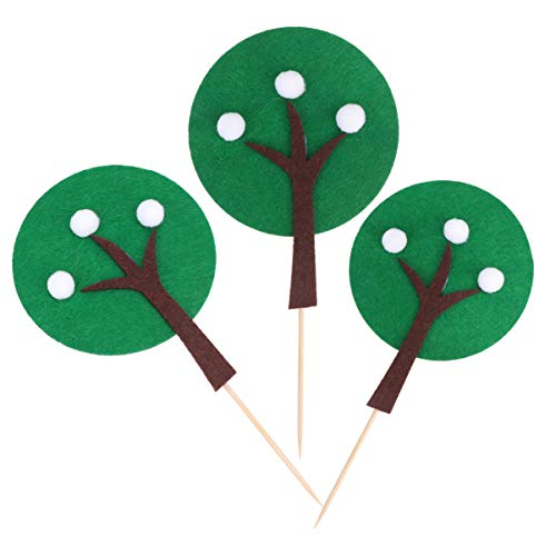 Hemoton 5 Sets Tree Cupcake Topper Evergreen Tree Picks Cupcake Toppers Pine Tree Picks Cake Decoration for Birthday Baby Shower