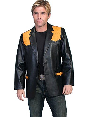 Scully Leather Mens Western Lambskin Blazer Genuine Ostrich Black 46L