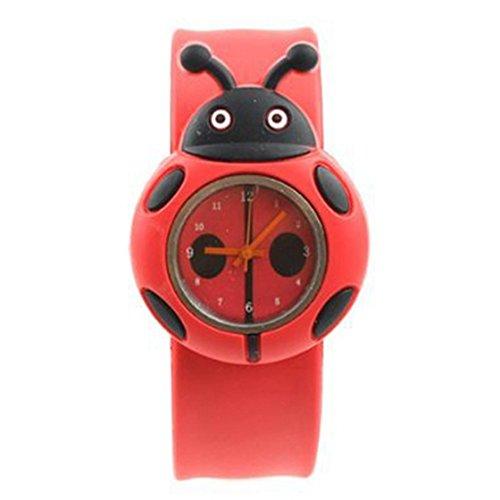 WOVELOT Kind Jungen Maedchen Marienkaefer Entzueckende Karikatur Silikon Uhr - Farbe: Rot